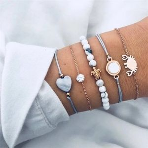 Boho 5 Piece Marble Design Bracelet Set Blue Gold